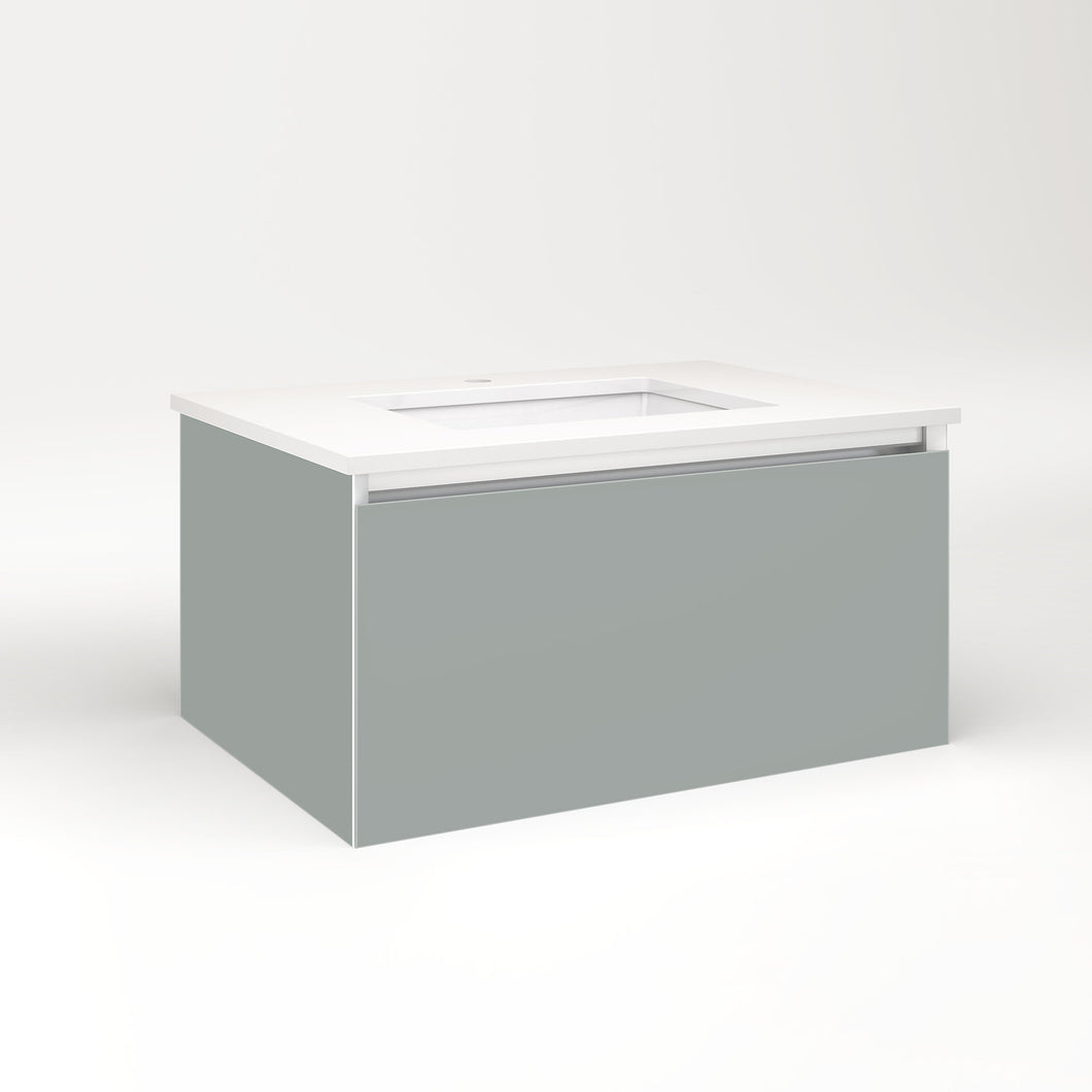 "Cartesian 30-1/8"" x 15"" x 21-3/4"" single drawer vanity in matte gray with slow-close full drawer and no night light"