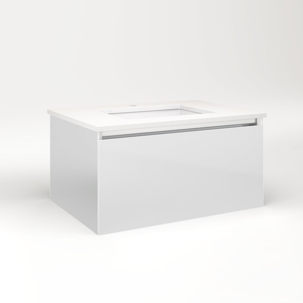 "Cartesian 30-1/8"" x 15"" x 21-3/4"" single drawer vanity in satin white with slow-close plumbing drawer and no night light"