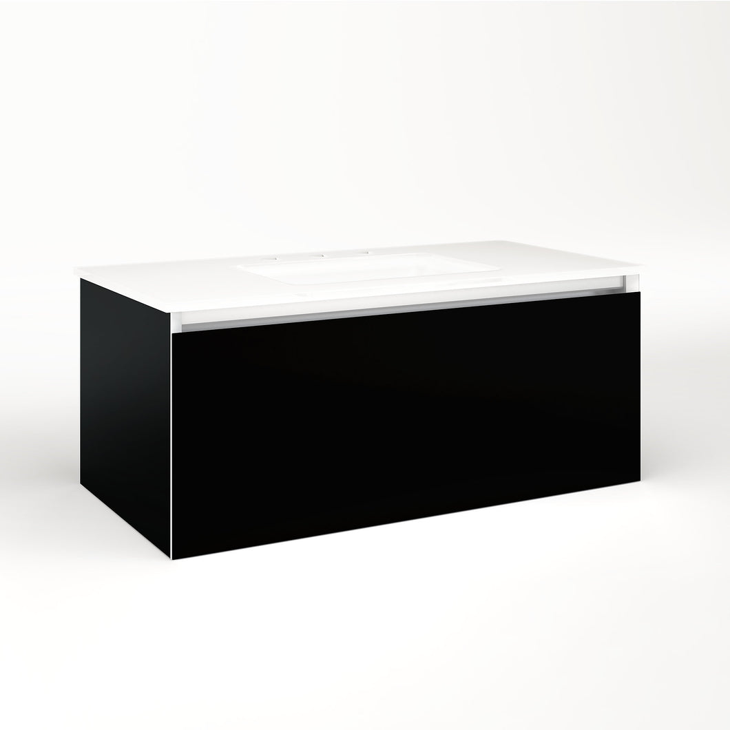 "Cartesian 36-1/8"" x 15"" x 18-3/4"" single drawer vanity in black with slow-close full drawer and no night light"