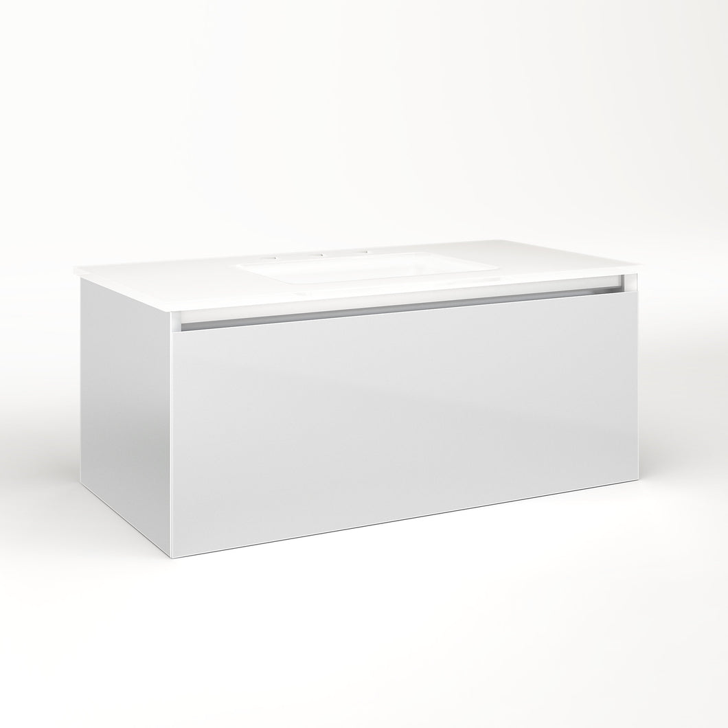"Cartesian 36-1/8"" x 15"" x 18-3/4"" single drawer vanity in satin white with slow-close plumbing drawer and no night light"