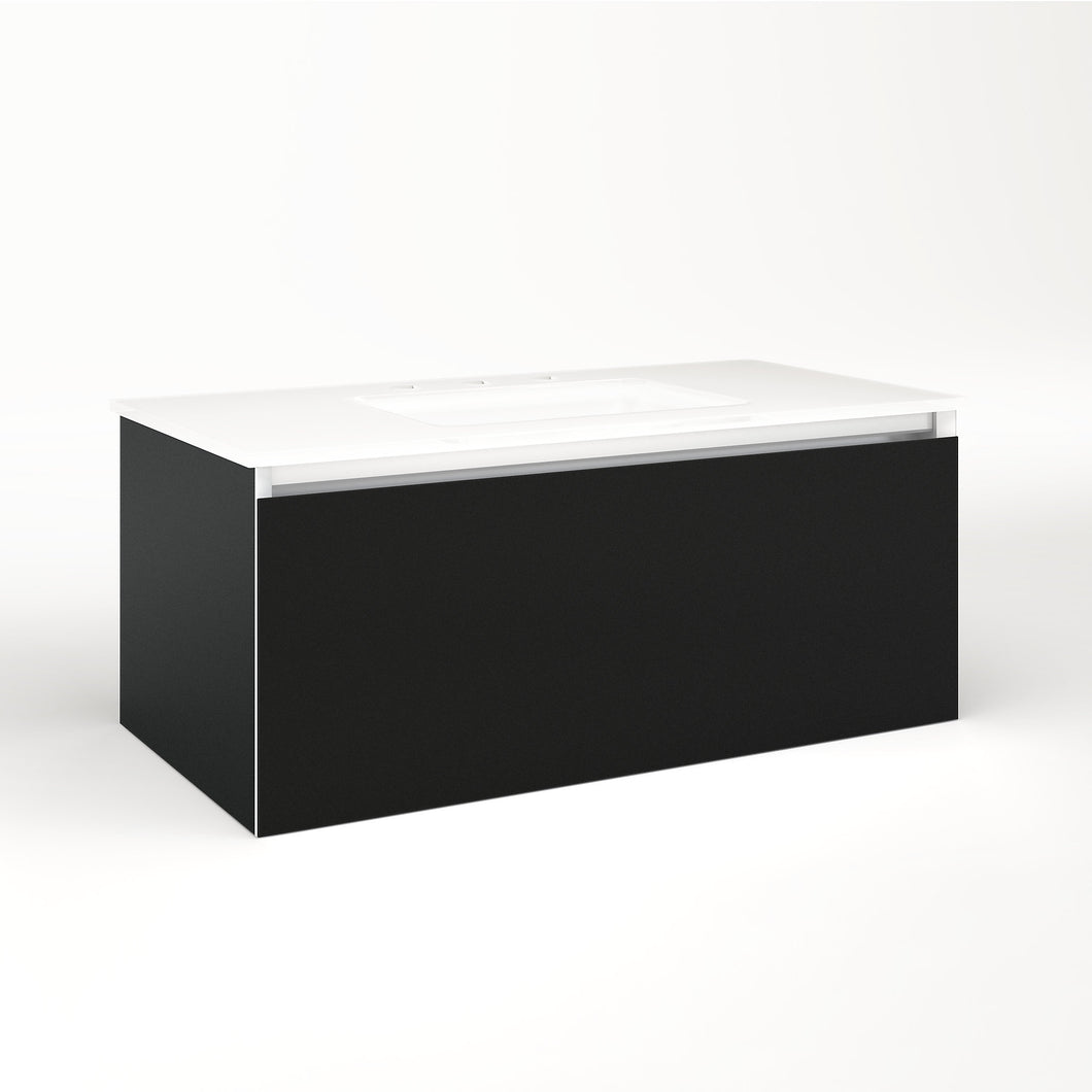 "Cartesian 36-1/8"" x 15"" x 18-3/4"" single drawer vanity in matte black with slow-close plumbing drawer and no night light"