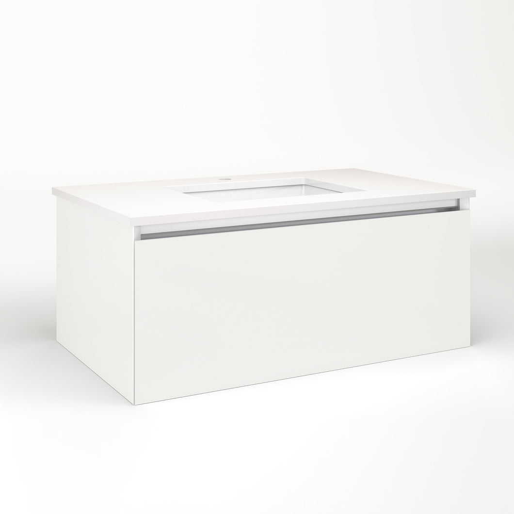 "Cartesian 36-1/8"" x 15"" x 21-3/4"" single drawer vanity in beach with slow-close plumbing drawer and no night light"