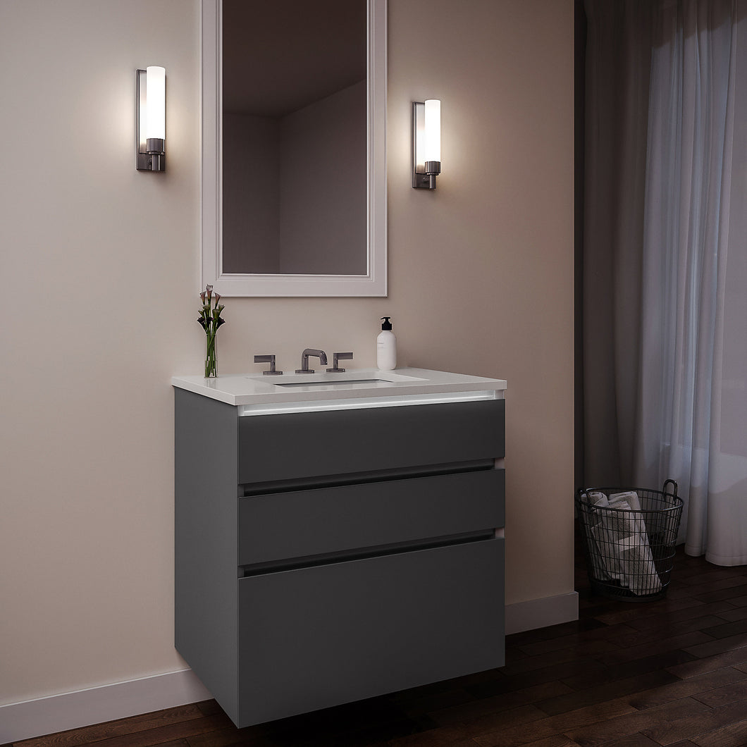 "Curated Cartesian 36"" x 7-1/2"" x 21"" and 36"" x 15"" x 21"" three drawer vanity in matte gray glass with tip out drawer, slow-close plumbing drawer, night light and Engineered Stone 37"" vanity top in quartz white (Silestone white storm)"