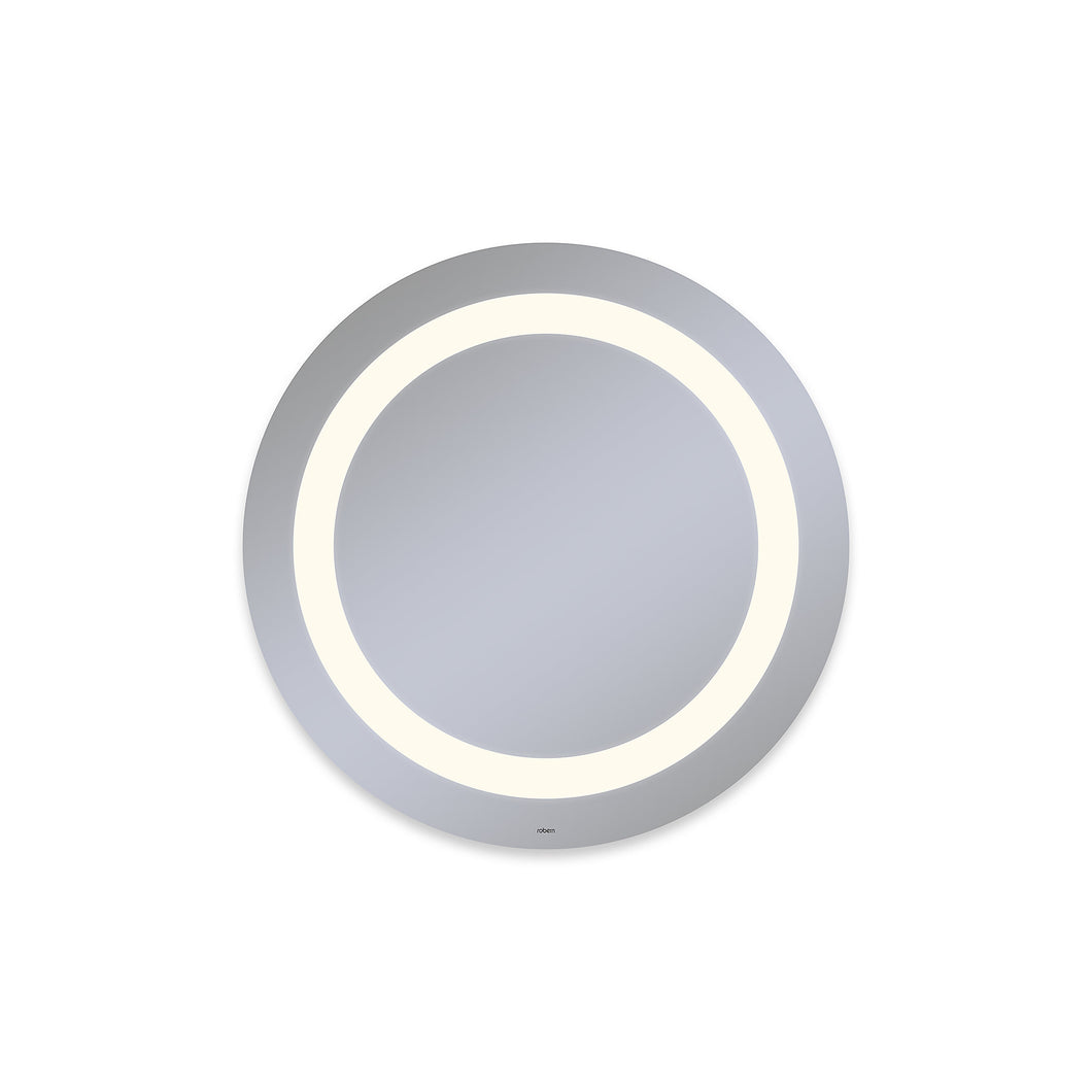 "Vitality 30"" diameter x 1-3/4"" depth circle lighted mirror with inset light pattern, 2700 kelvin temperature (warm light), dimmable and defogger"