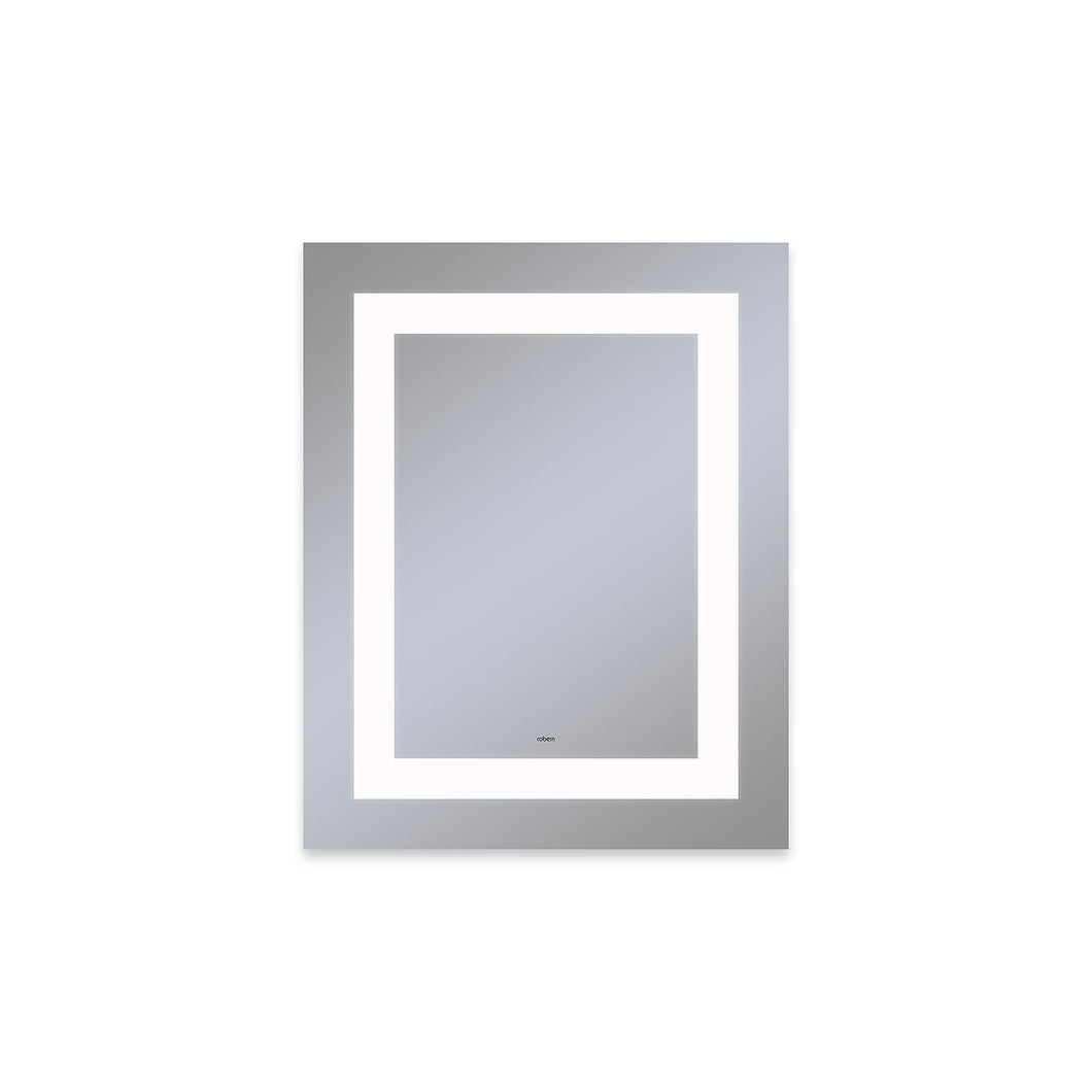 "Vitality 24"" x 30"" x 1-3/4"" rectangle lighted mirror with inset light pattern, 4000 kelvin temperature (cool light), dimmable and defogger"