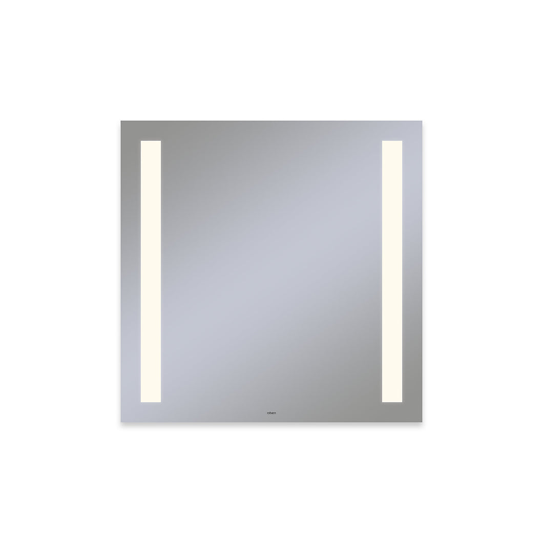 "Vitality 30"" x 30"" x 1-3/4"" rectangle lighted mirror with column light pattern, 2700 kelvin temperature (warm light), dimmable and defogger"