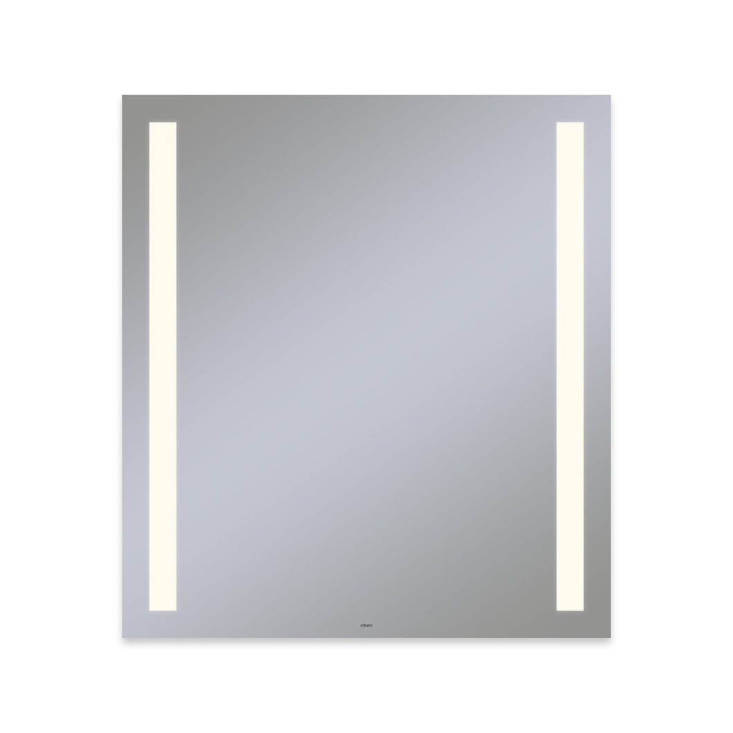 "Vitality 36"" x 40"" x 1-3/4"" rectangle lighted mirror with column light pattern, 2700 kelvin temperature (warm light), dimmable and defogger"