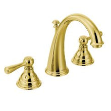 "Load image into Gallery viewer, Moen T6125 Kingsley 8"" Widespread Two Handle High-Arc Bathroom Faucet Trim Kit in Polished Brass"
