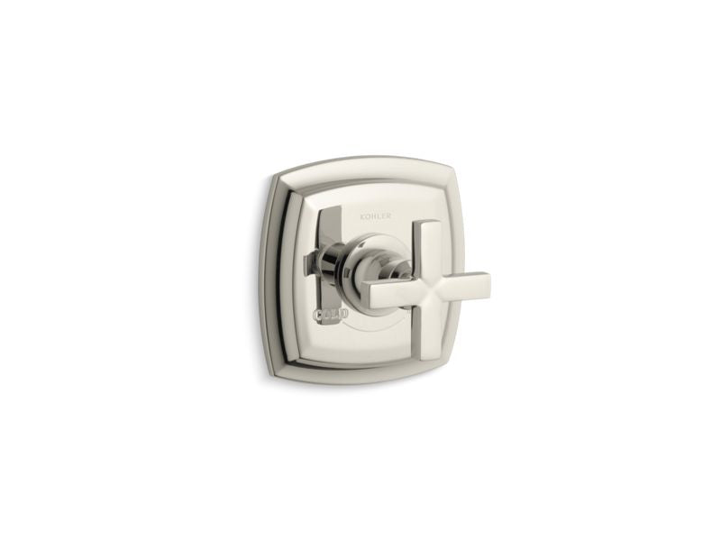 KOHLER T16239-3-SN Margaux Valve Trim With Cross Handle For Thermostatic Valve, Requires Valve in Vibrant Polished Nickel