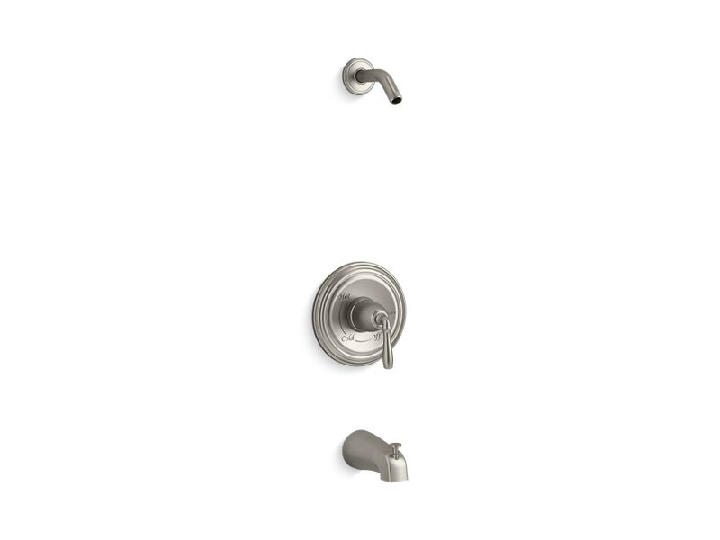 KOHLER TLS395-4S-BN Devonshire Rite-Temp(R) Bath And Shower Valve Trim With Lever Handle And Slip-Fit Spout, Less Showerhead in Vibrant Brushed Nickel