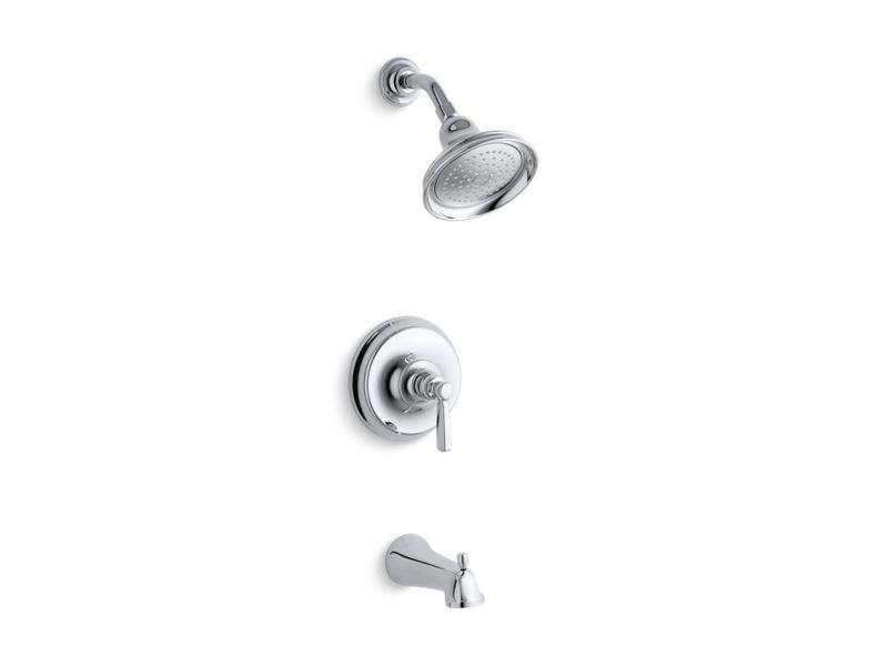 KOHLER TS10581-4-CP Bancroft Rite-Temp Bath And Shower Trim Set With Npt Spout, Valve Not Included in Polished Chrome