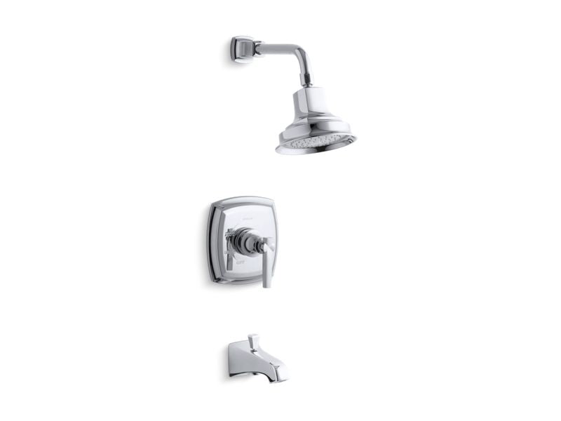 KOHLER TS16225-4-CP Margaux Rite-Temp Bath And Shower Trim Set With Lever Handle And Npt Spout, Valve Not Included in Polished Chrome