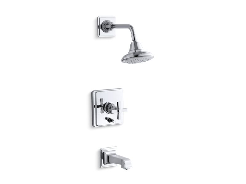 KOHLER T13133-3A-CP Pinstripe Pure Rite-Temp Pressure-Balancing Bath And Shower Faucet Trim With Cross Handle, Valve Not Included in Polished Chrome