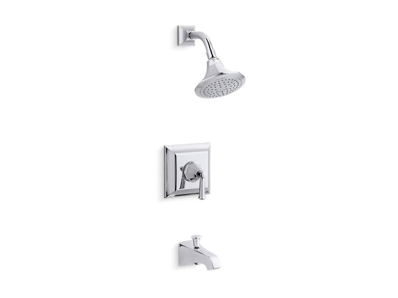 KOHLER TS461-4S-CP Memoirs Stately Rite-Temp Bath And Shower Valve Trim With Lever Handle, Spout And 2.5 Gpm Showerhead in Polished Chrome