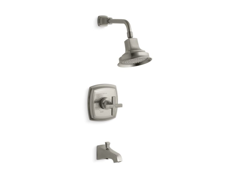 KOHLER TS16225-3-BN Margaux Rite-Temp Bath And Shower Trim Set With Cross Handle And Npt Spout, Valve Not Included in Vibrant Brushed Nickel