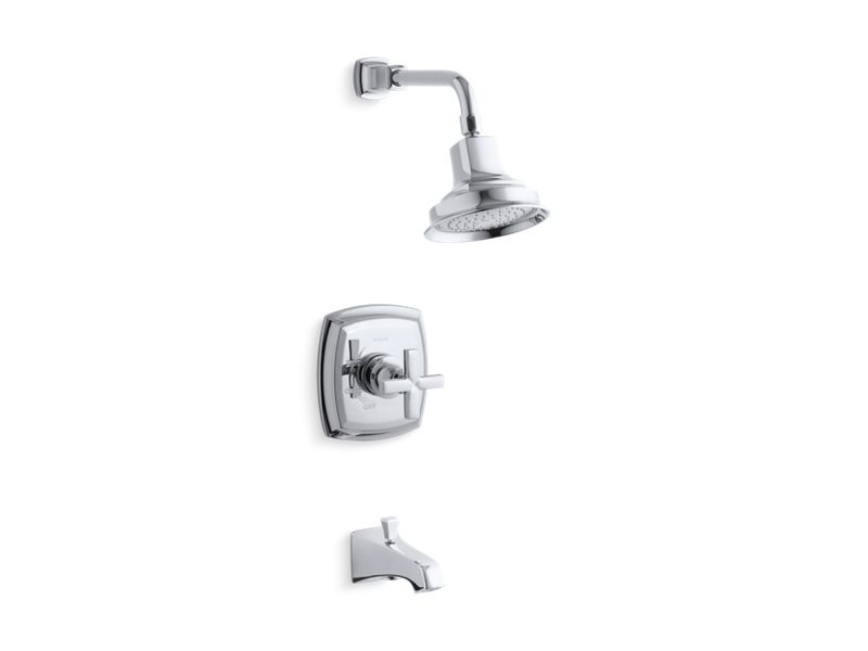KOHLER TS16225-3-CP Margaux Rite-Temp Bath And Shower Trim Set With Cross Handle And Npt Spout, Valve Not Included in Polished Chrome