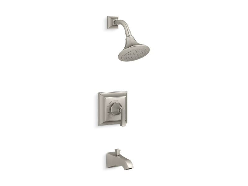 KOHLER TS461-4V-BN Memoirs Stately Rite-Temp Bath And Shower Valve Trim With Deco Lever Handle, Spout And 2.5 Gpm Showerhead in Vibrant Brushed Nickel