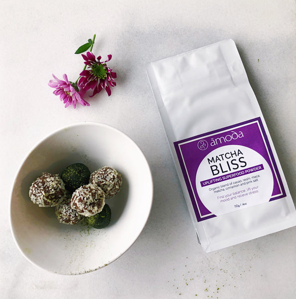 matcha bliss balls with reishi and maca
