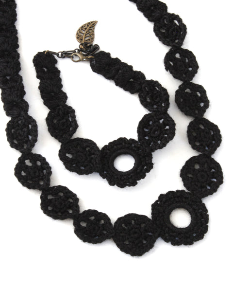 Crochet Set - Black | On Sale