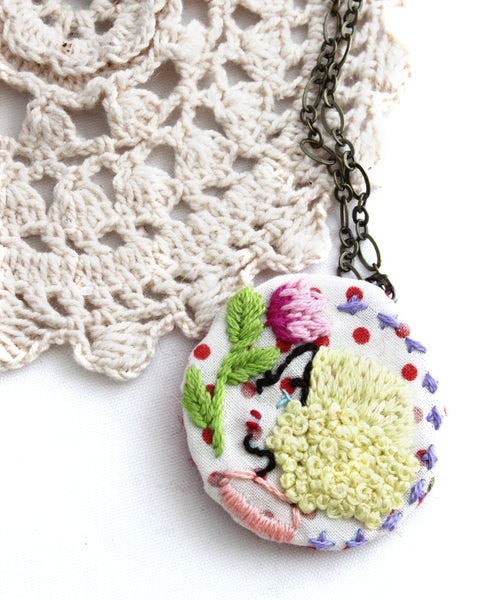Embroidery Necklace - Blonde Curls | On Sale