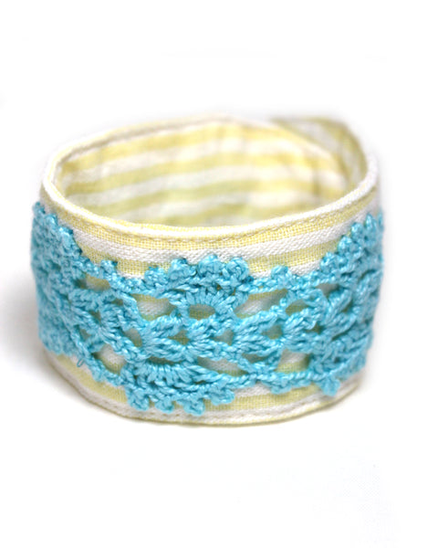 Crochet Bracelet - Striped Blue | On Sale