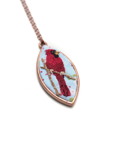 Embroidery Necklace - Cardinal