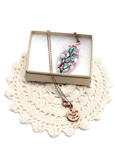 Embroidery Necklace - Cherry Blossom | On Sale