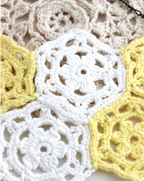 Crochet Necklace - Yellow & White | On Sale