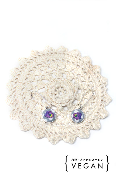 Embroidery Earrings - Violet | On Sale