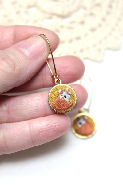 Embroidery Earrings - Cat | On Sale