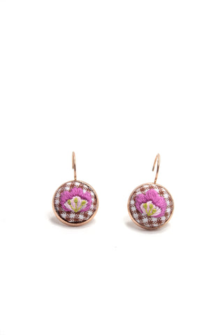 Embroidery Earrings - Violet