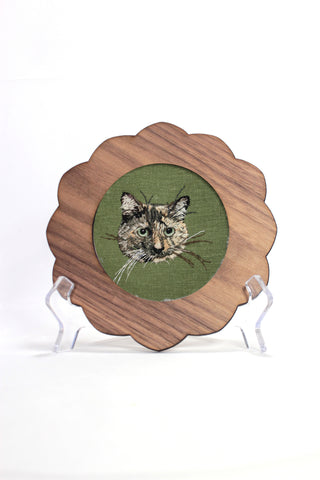 Custom Embroidery Pet Portrait - Wood Frame