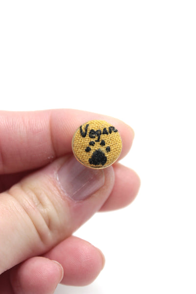 Embroidery Earrings - Vegan + Paw Print