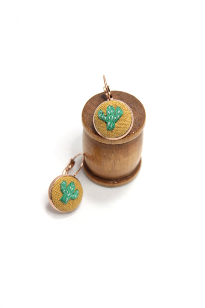 Embroidery Earrings - Cactus