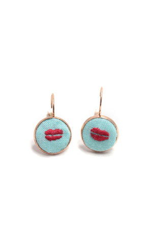 Embroidery Earrings - Lips