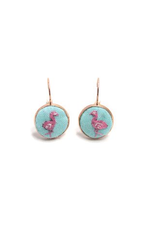 Embroidery Earrings - Flamingo