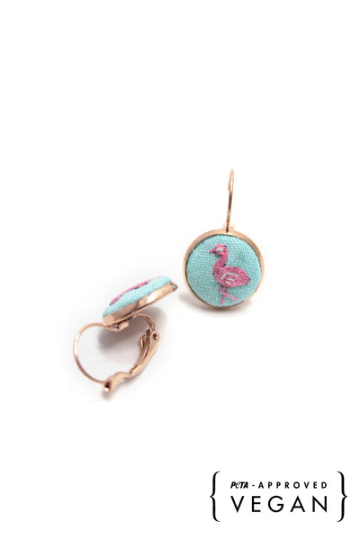 Embroidery Earrings - Flamingo | On Sale