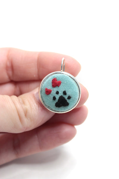 Embroidery Earrings - Heart + Paw