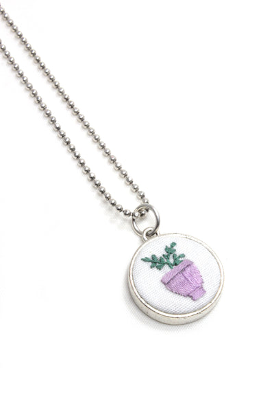 Embroidery Necklace - Lilac Vase | On Sale