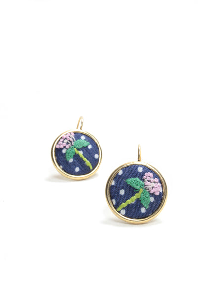 Embroidery Earrings - Pink Flower