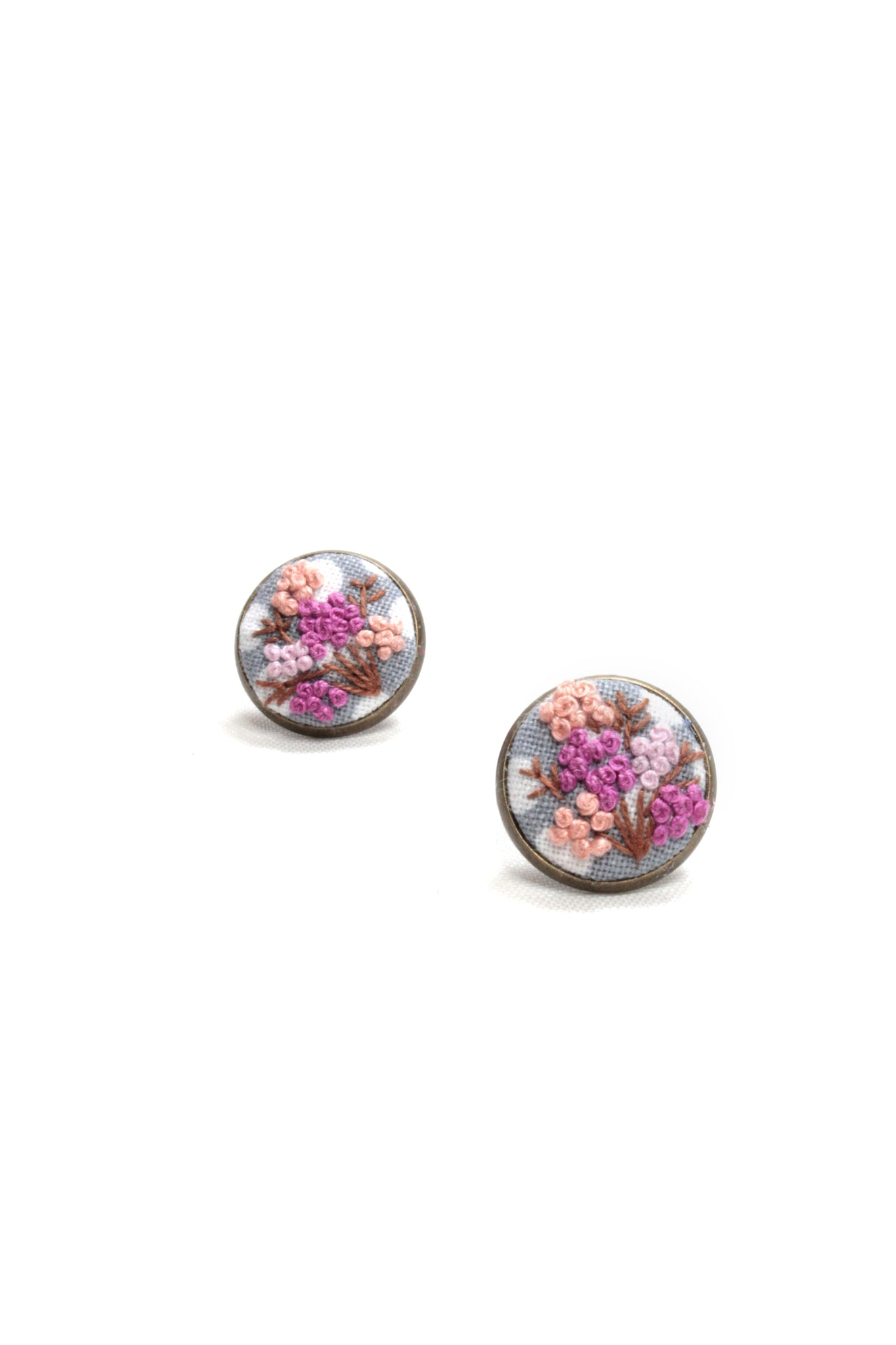 Embroidery Earrings - Pink Flowers