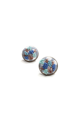 Embroidery Earrings - Blue Flowers