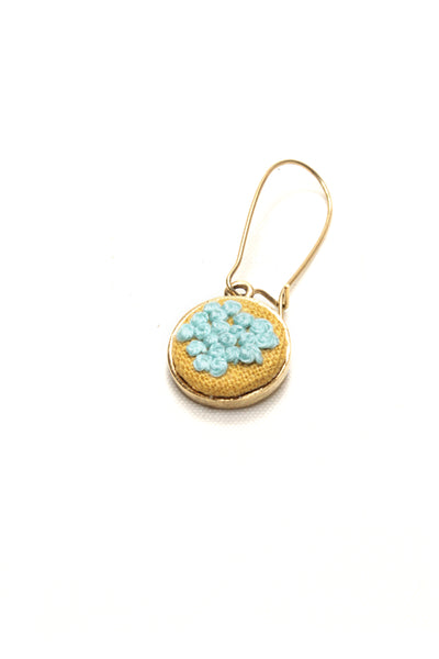 Embroidery Earrings - Mint French Knots