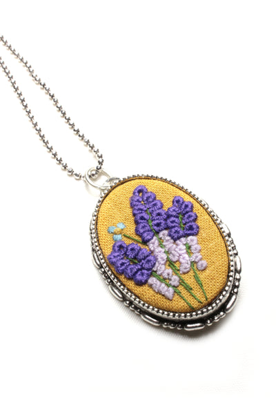 Embroidery Necklace/Brooch - Lavender