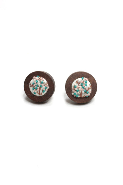 Embroidery Studs - Aqua/Pink Flower