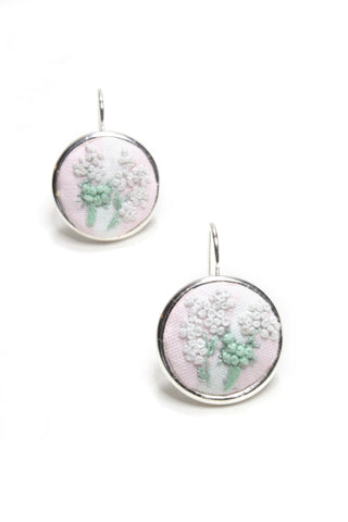Embroidery Earrings - White & Green Flowers