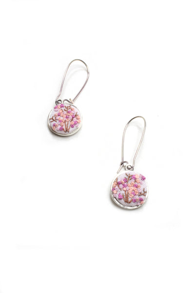Embroidery Earrings - Baby Pink Flower
