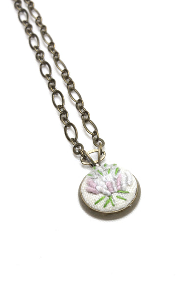 Embroidery Necklace - Lilac Flower