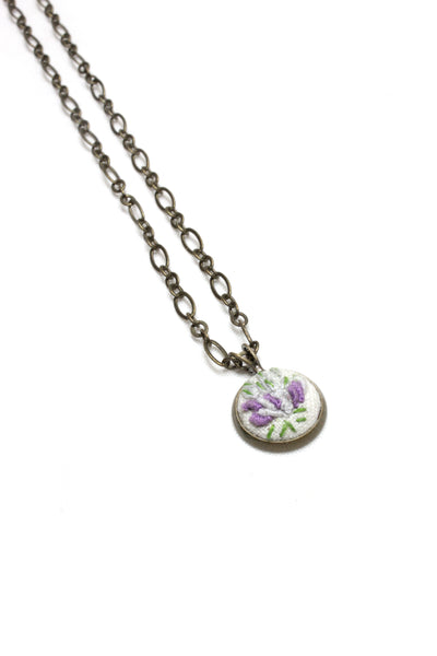 Embroidery Necklace - Purple Flower