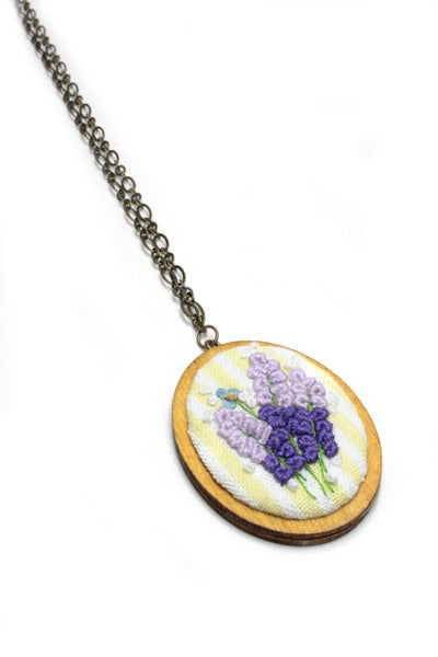 Embroidery Necklace - Lavender